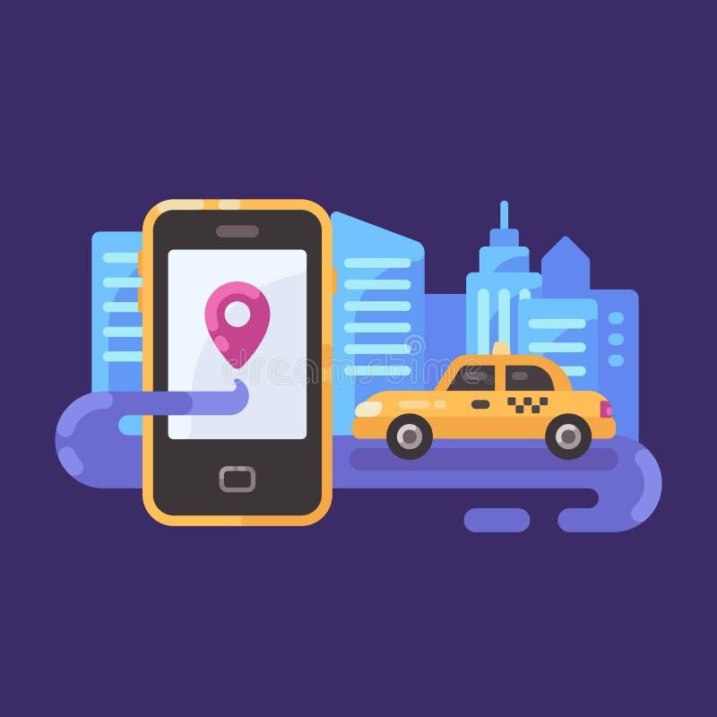 Gul taxibil på vägen på natten med smartphonen Mobil taxiservice vektor illustrationer