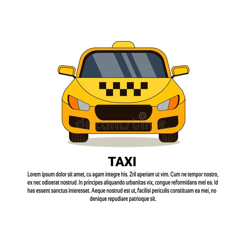 Gul taxiservicebil Front View Cab Icon royaltyfri illustrationer