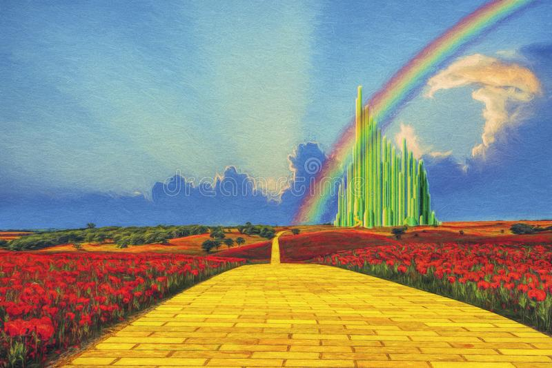 Gul tegelstenväg till Emerald City royaltyfria bilder