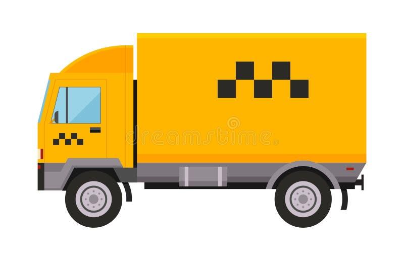 Gul transport för bilen för den taxilastbilskåpbil vektor illustrationen isolerade den stads- passageraren för symbolet för symbo vektor illustrationer