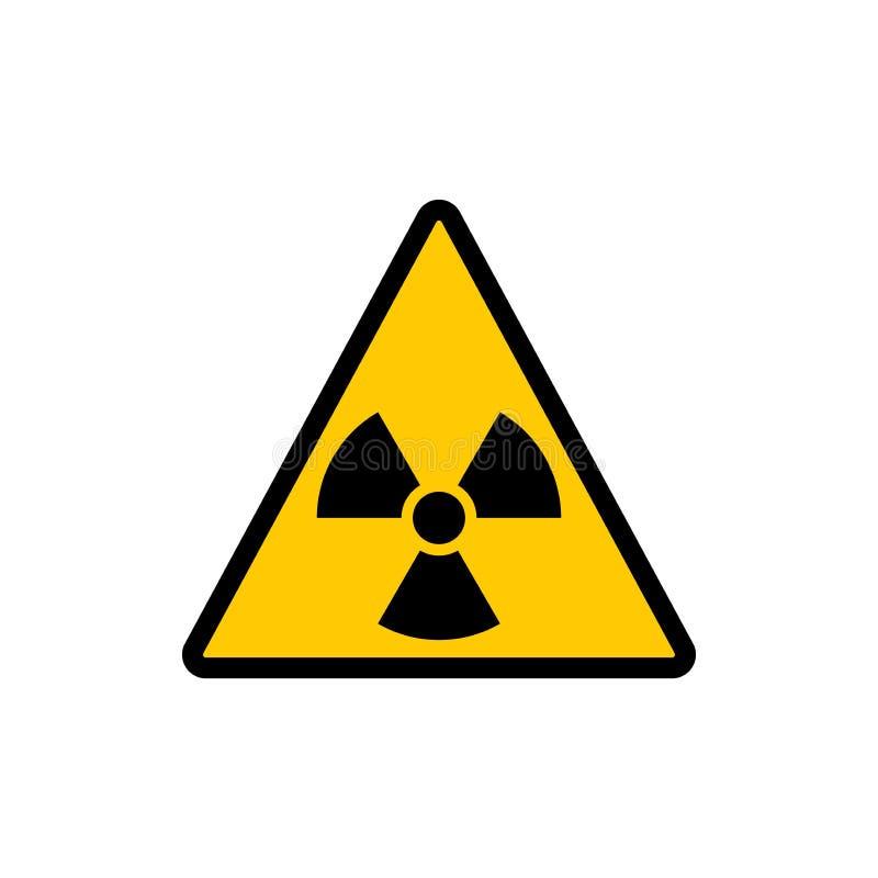 Gul triangel som varnar det radioaktiva tecknet Klistermärke för symbol för utstrålningsvarningsvektor vektor illustrationer