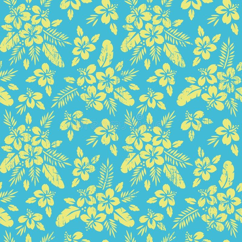 Gul tropisk exotisk lövverk, modell för blom- vektor för hibiskus sömlös Frodiga tropiska palmblad royaltyfri illustrationer
