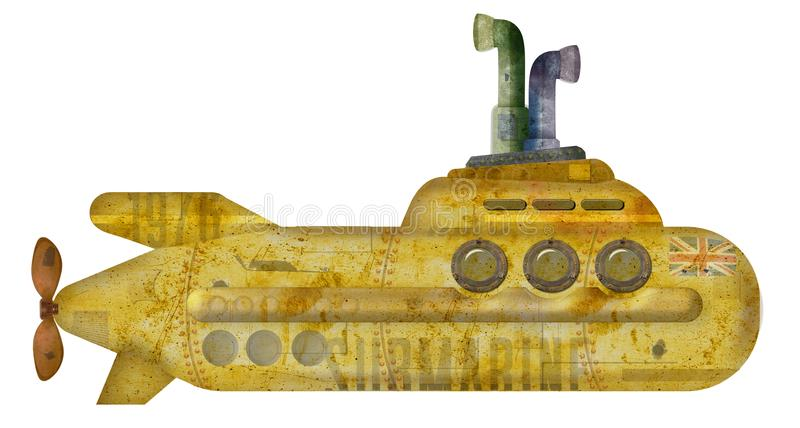 Gul ubåtGrunge royaltyfri foto