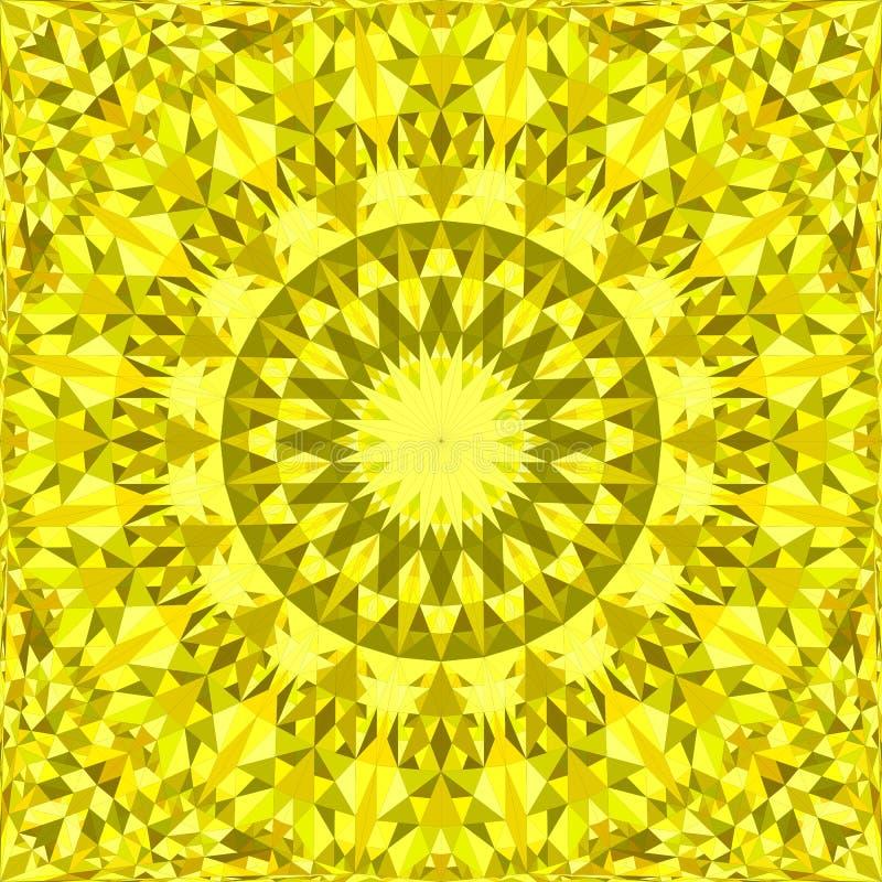 Gul upprepande design för kalejdoskopmodellbakgrund - abstrakt illustration för vektormandalatapet från trianglar stock illustrationer