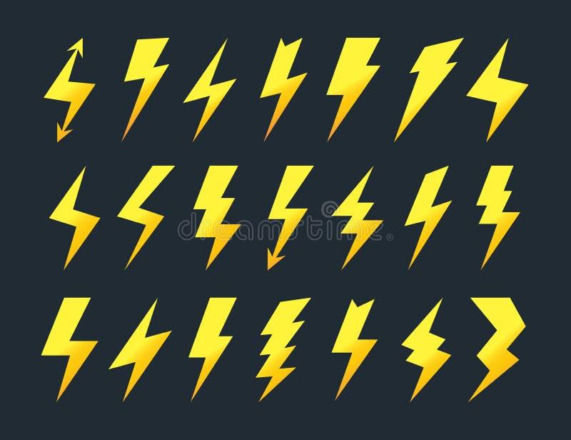 Gul uppsättning för blixtsymbolsvektor stock illustrationer