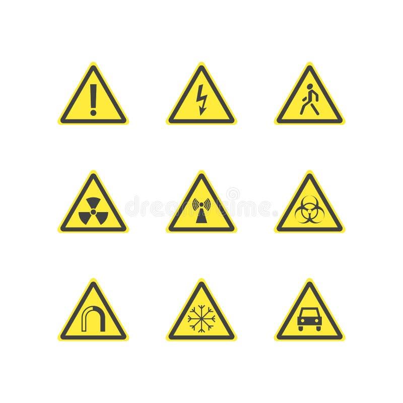 Gul uppsättning för tecken för varningsfaratriangel vektor vektor illustrationer