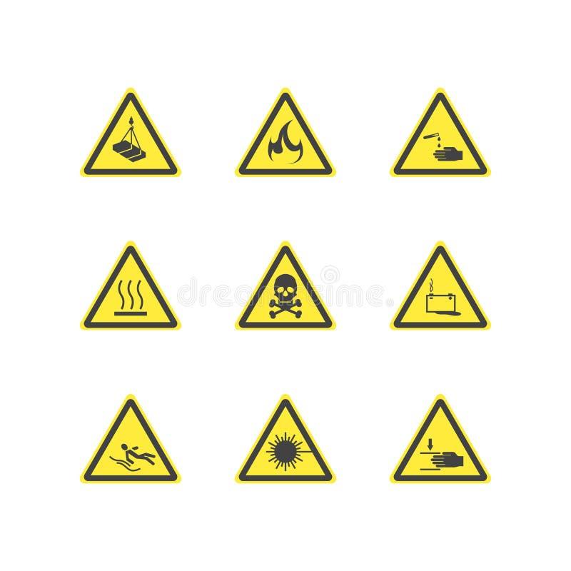 Gul uppsättning för tecken för varningsfarauppmärksamhet vektor vektor illustrationer