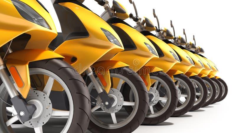 Gul vara nedstämd sparkcykel som parkerar transporthjulet 3d för att framföra på vit vektor illustrationer