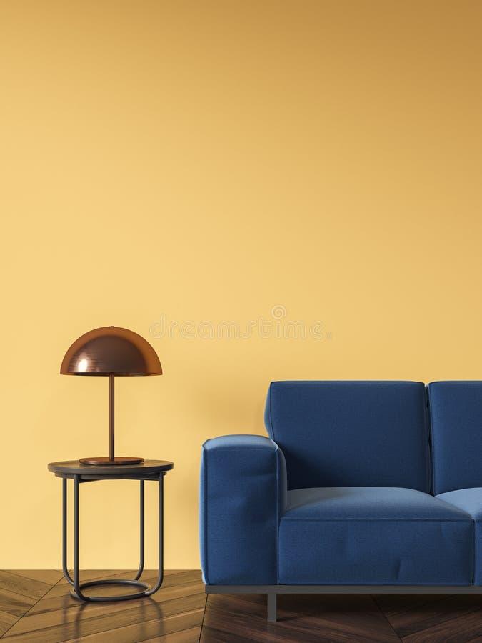 Gul vardagsrum, blå soffa royaltyfri foto