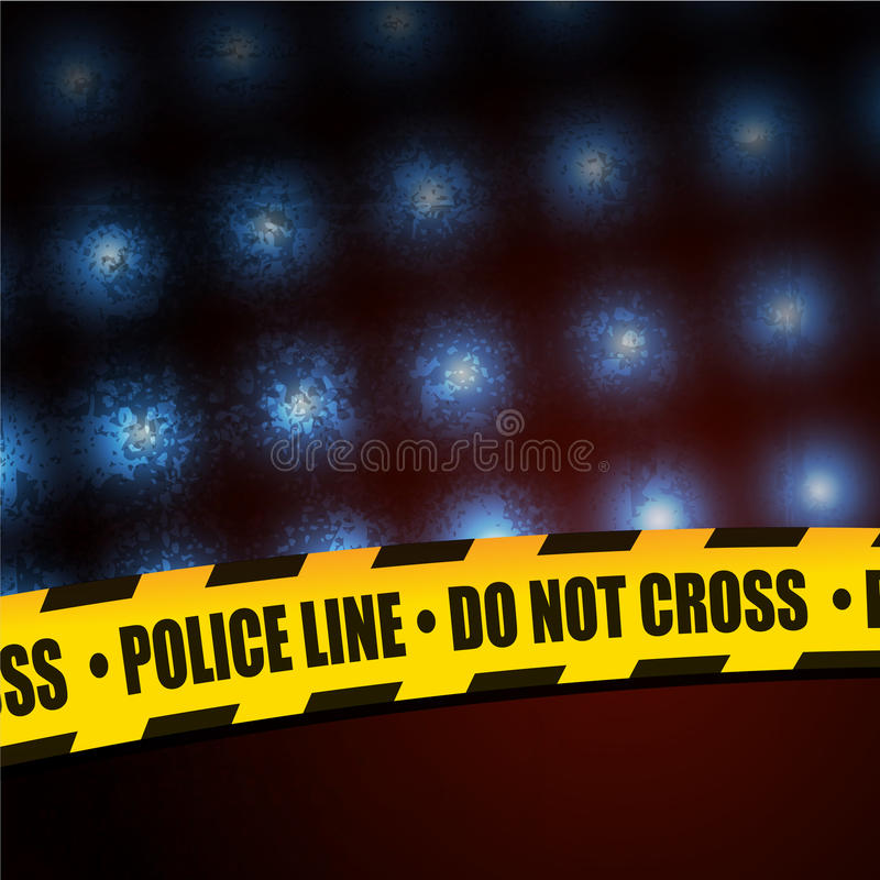 Gul varningslinje för polisen royaltyfri illustrationer