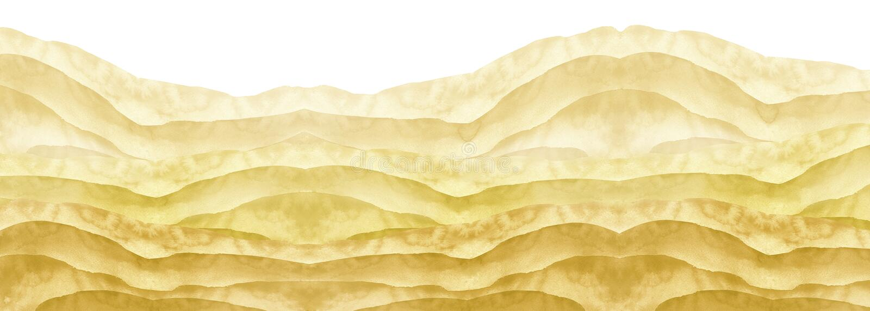 Gul vattenfärg, brun kulle, hög, gräs desertera sanden Sommar höstlandskap på vit isolerad bakgrund vektor illustrationer