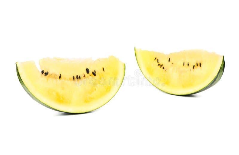 Gul vattenmelon för skiva royaltyfri foto
