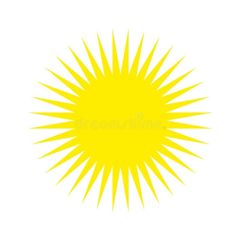 Gul vektor eps 10 för solljussymbol den gula solen med strålar undertecknar på vit bakgrund stock illustrationer