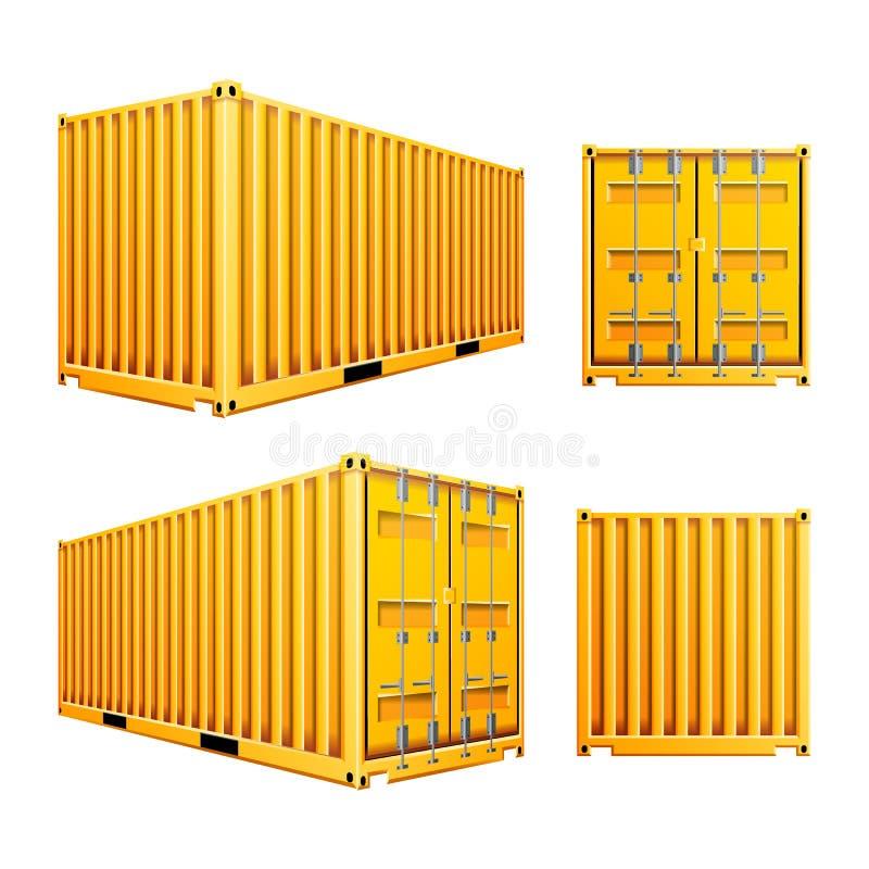 Gul vektor för behållare för last 3D Klassisk lastbehållare för realistisk metall Fraktsändningsbegrepp logistik royaltyfri illustrationer
