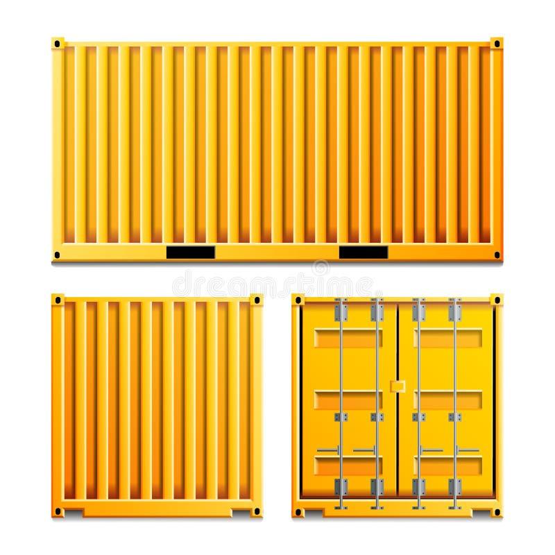 Gul vektor för lastbehållare Klassisk lastbehållare för realistisk metall Fraktsändningsbegrepp logistik stock illustrationer