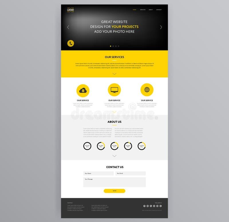 Gul vektor för websitedesignmall stock illustrationer