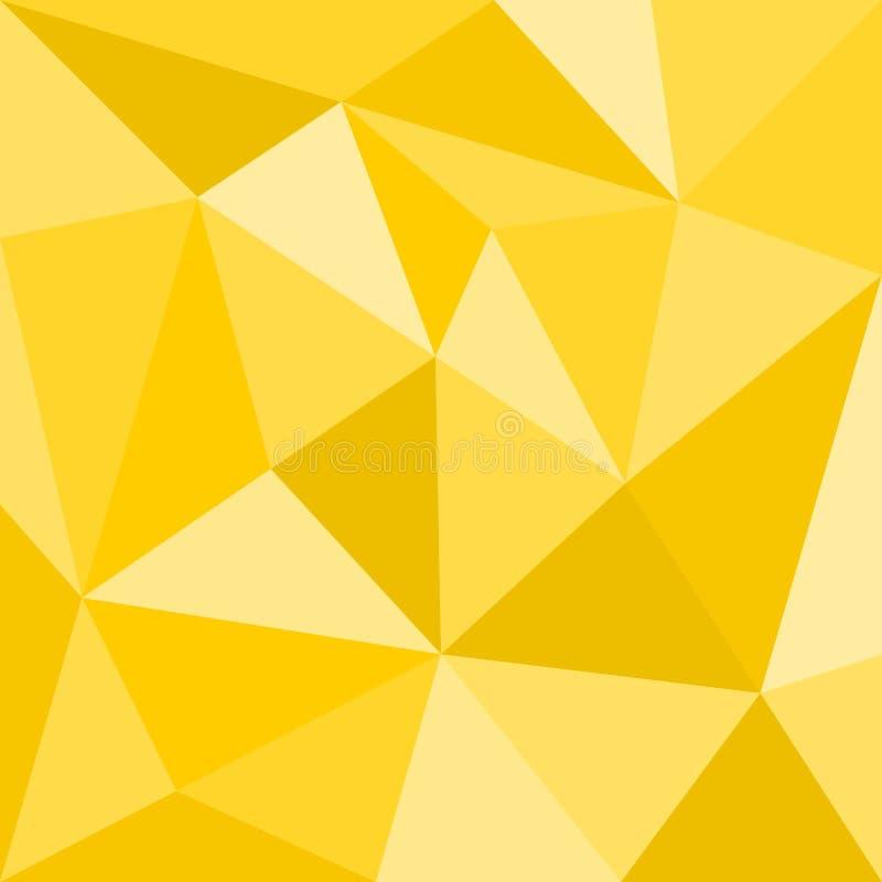 Gul vektorbakgrund för triangel eller sömlös solig sommarmodell royaltyfri illustrationer