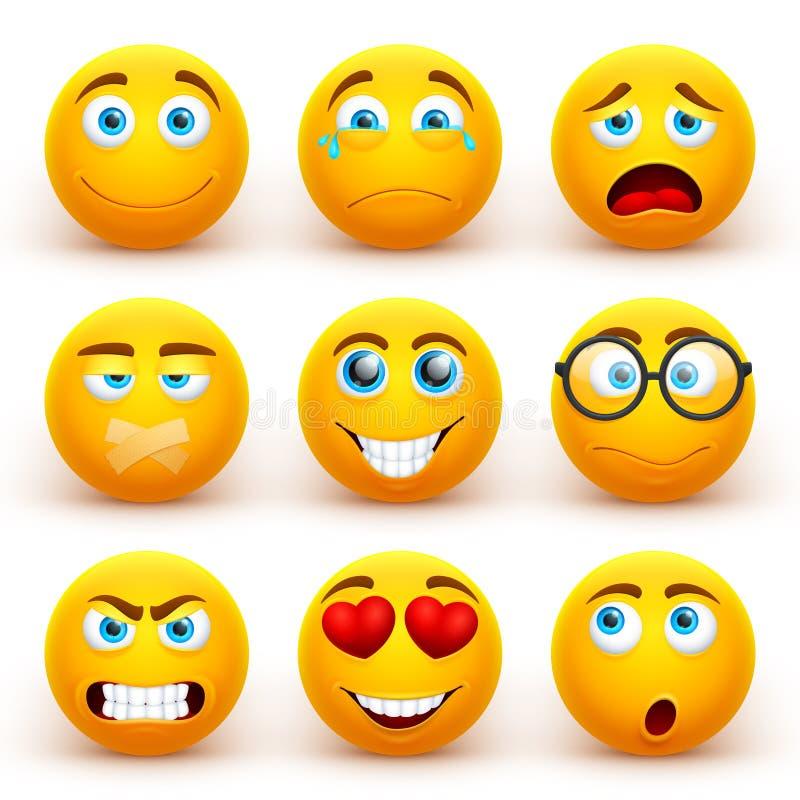 Gul vektoruppsättning för emoticons 3d Roliga smileyframsidasymboler med olika uttryck stock illustrationer