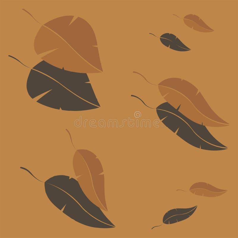 Gula Autumn Leaves Falling Vector Background arkivbilder