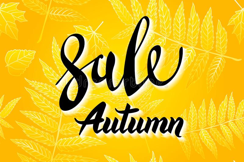 Gula Autumn Sale Background, utdragen höstkalligrafi för hand med det fallande sidor, rengöringsdukbanret och att shoppa försäljn royaltyfri illustrationer