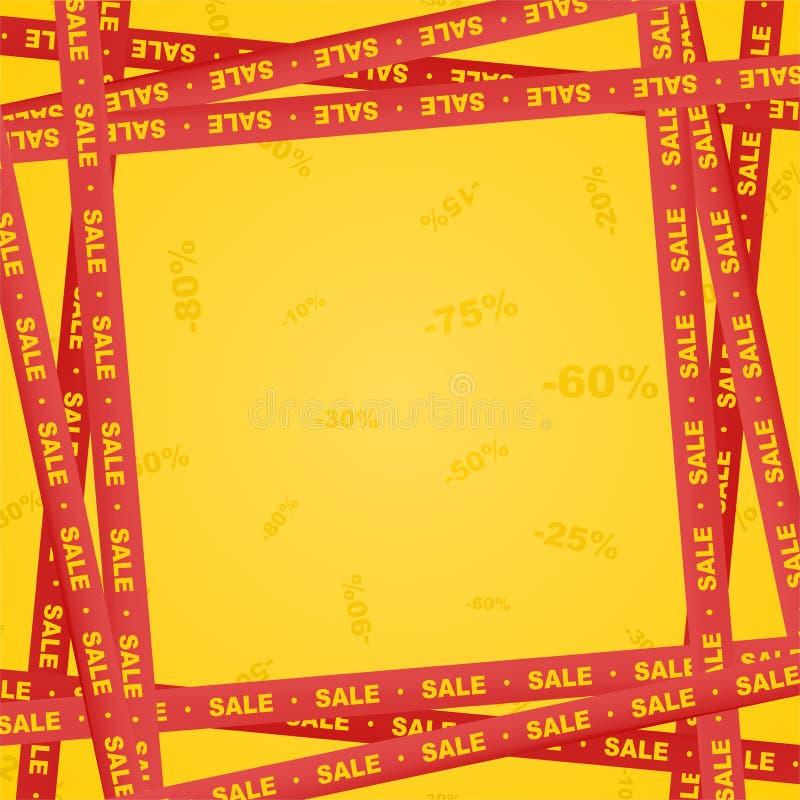 Gula band omkring med röd bokstäverförsäljning och band som indikerar försäljningsstället på en röd bakgrund med nummer Varna och royaltyfri illustrationer