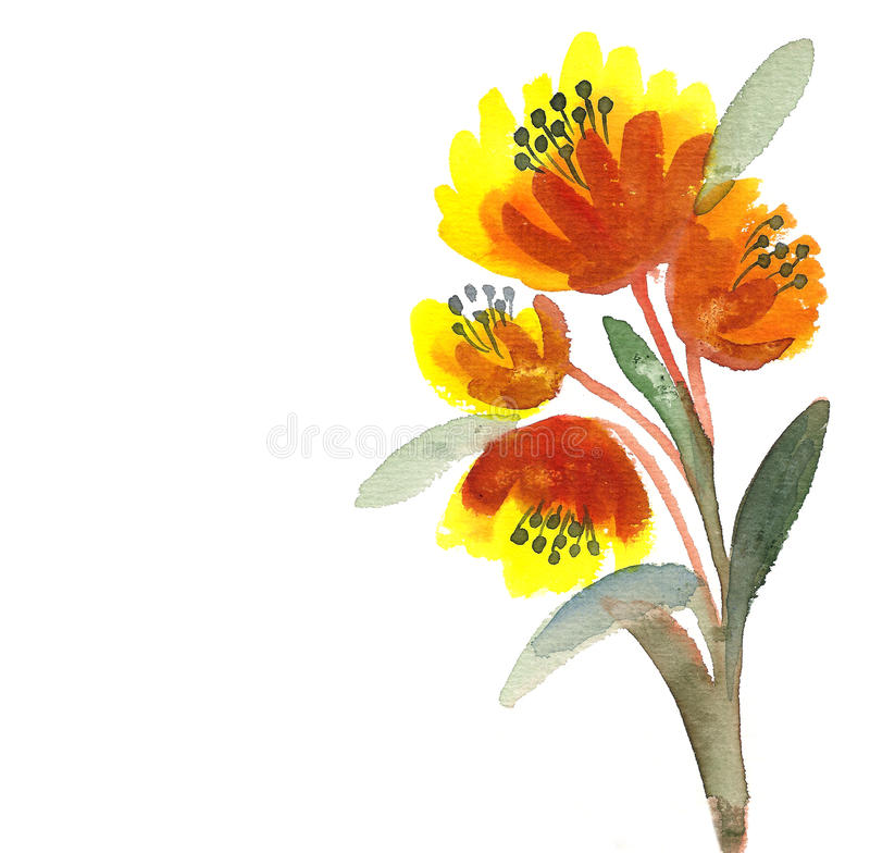 Download Gula Blommor Som Målas I Vattenfärg Stock Illustrationer - Illustration av diagram, teckning: 27288294