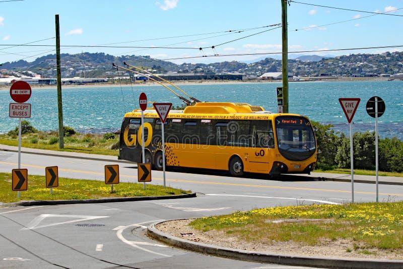 Gula elektriska väntningar för en buss på ändstationen vid sidan av den Lyall fjärden, gummistövel, Nya Zeeland royaltyfria foton