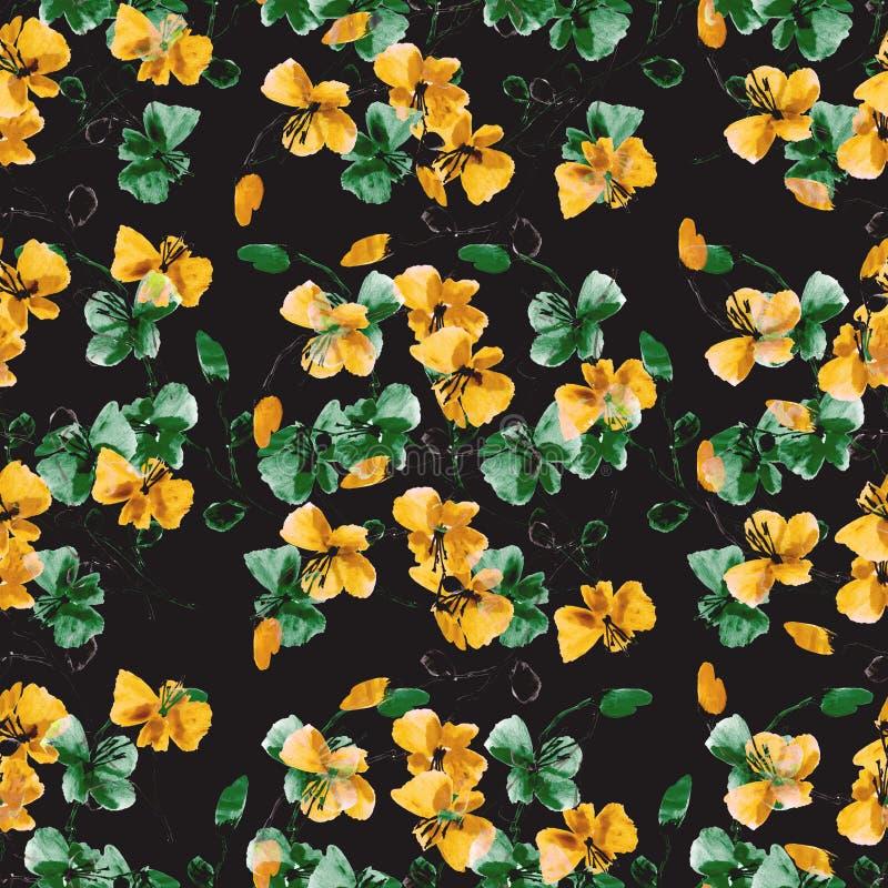 Gula för sömlös modell små lösa och gröna blommor på den svarta bakgrunden vektor f?r detaljerad teckning f?r bakgrund blom- vatt vektor illustrationer