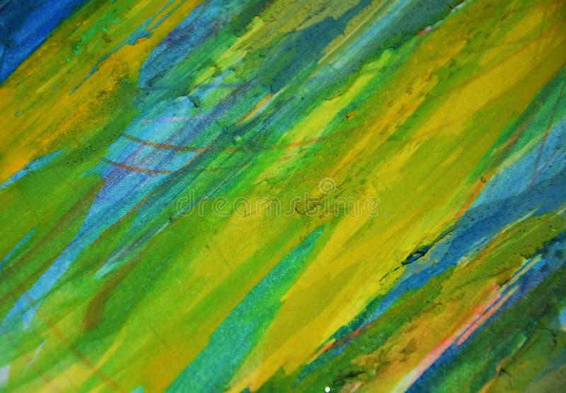 Gula fosforescerande leriga kontraster för blå gräsplan, idérik bakgrund för målarfärgvattenfärg arkivbild