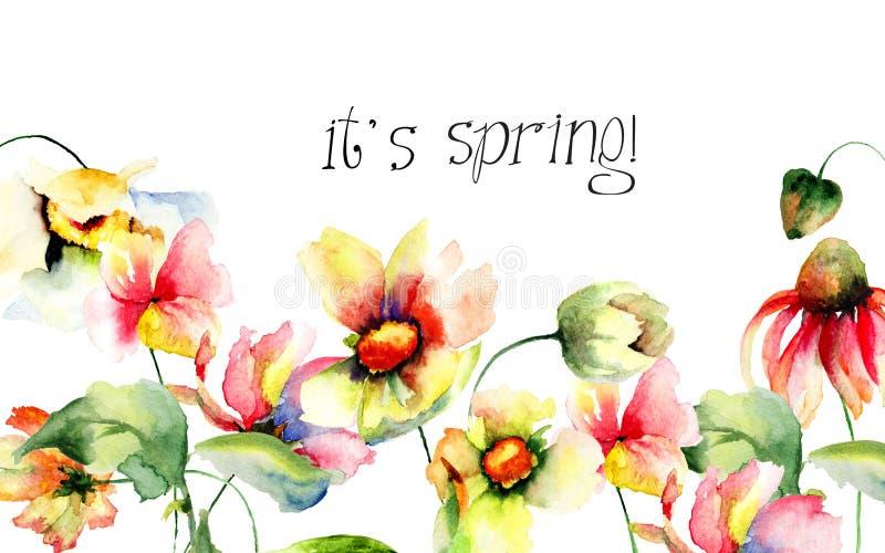 Gula Gerber blommor med titel är det våren royaltyfri illustrationer