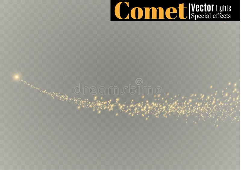 Gula gnistor och stjärnor skiner med specialt ljus Mousserande magiska dammpartiklar Effekten av en signalljussignalljus med a vektor illustrationer