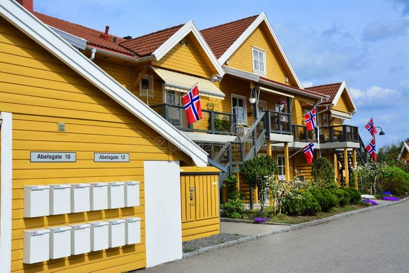 Gula hus i mossa, Norge flagga arkivbild