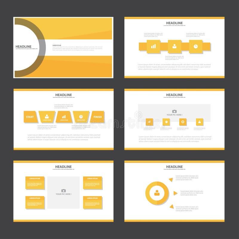 Gula Infographic för mallen för apelsinabstrakt begrepppresentationen beståndsdelar sänker designuppsättningen för marknadsföring stock illustrationer