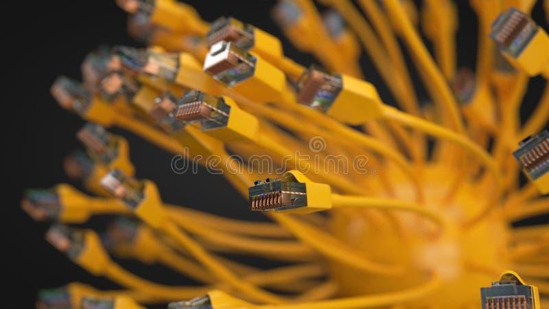 Gula internetkablar och sfär den begreppsmässiga illustrationen 3d av Ethernetkabel och rj-45 pluggar stock illustrationer