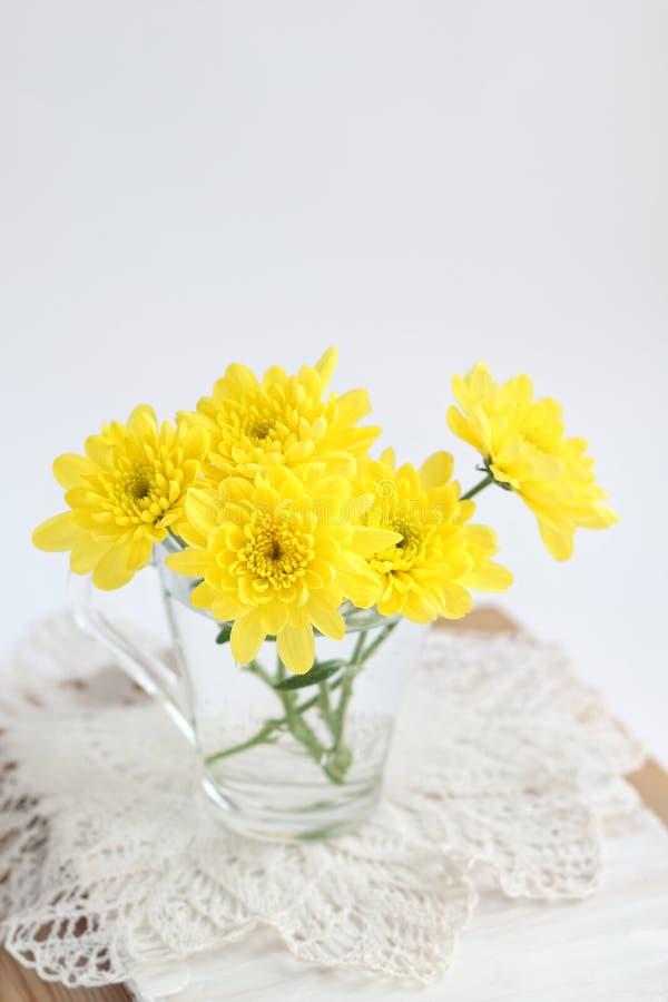 Gula krysantemum i exponeringsglas på en snöra åtservett fotografering för bildbyråer