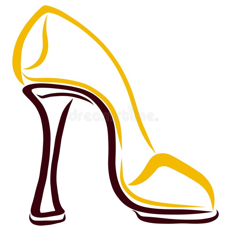Gula kvinnliga höga heeled skor, vit bakgrund vektor illustrationer