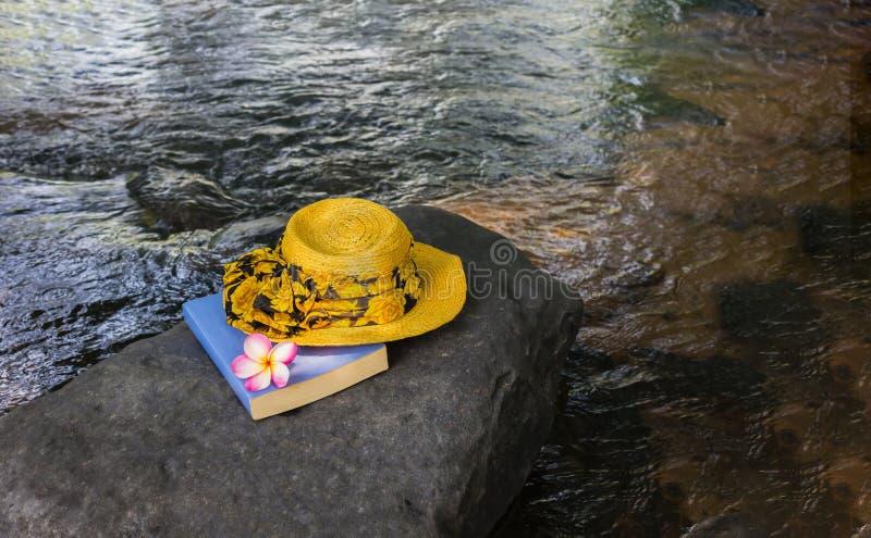 Gula kvinnor hatt och bok på vagga i vattenfall royaltyfria bilder