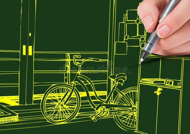 gula linjer för handritkontor på grön bakgrund royaltyfri illustrationer