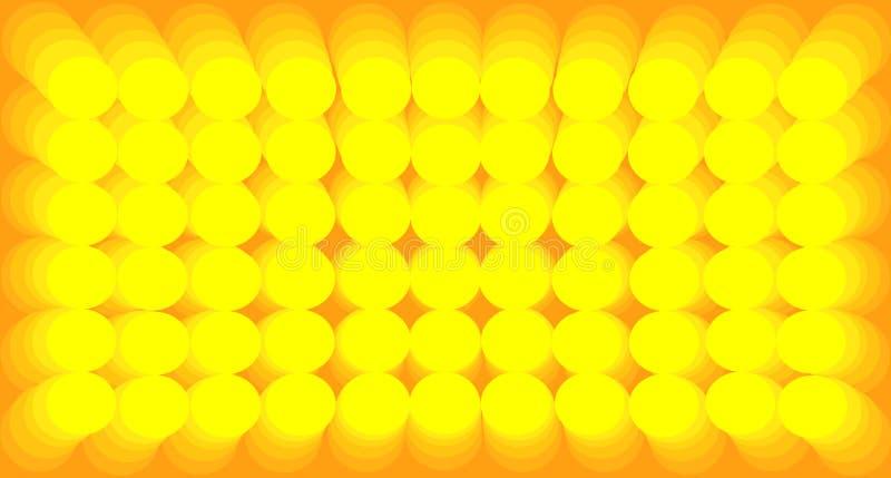 Gula lutningcirklar för abstrakt bakgrund stock illustrationer