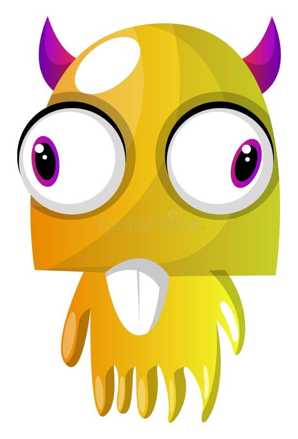Gula monster med rosa horn och stora ögon illustrerar vektor stock illustrationer