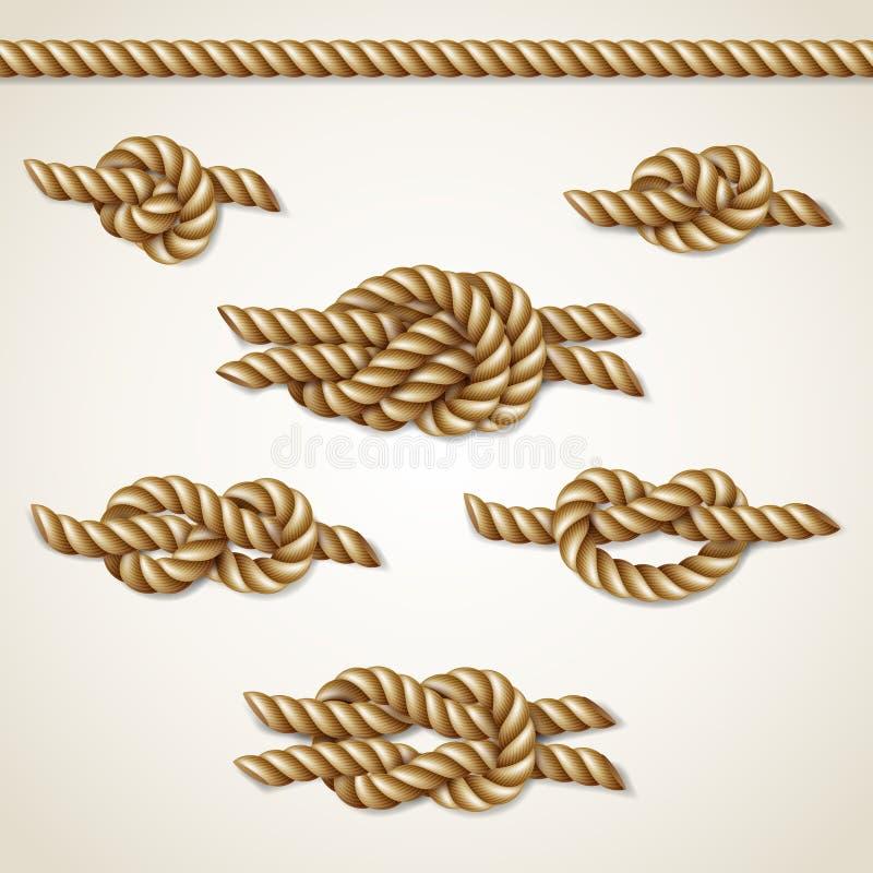 Gula nautiska repfnuren ställde in över beige bakgrund royaltyfri illustrationer