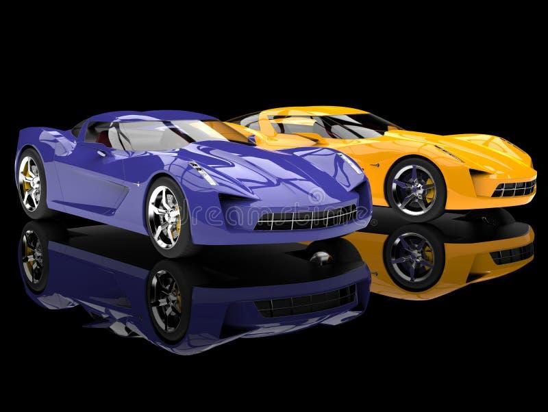 Gula och galna purpurfärgade moderna toppna sportbegreppsbilar för sol stock illustrationer