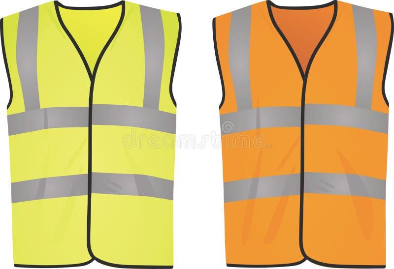Gula och orange västar för säkerhet royaltyfri illustrationer