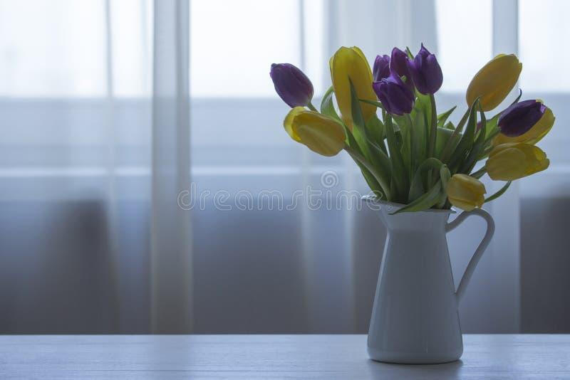 Gula och purpurfärgade tulpan i en vit tillbringare mot fönstret En bukett av nya tulpan, kalla färger arkivbilder