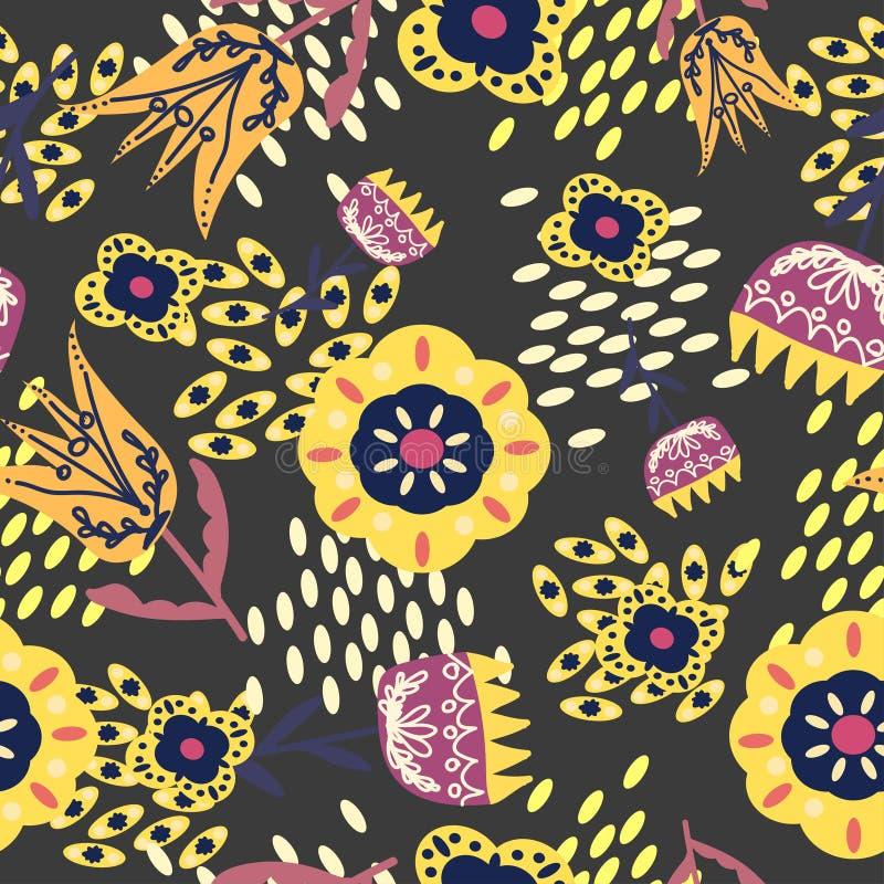 Gula och rosa folk blom- prydnader på en grå färg vektor illustrationer