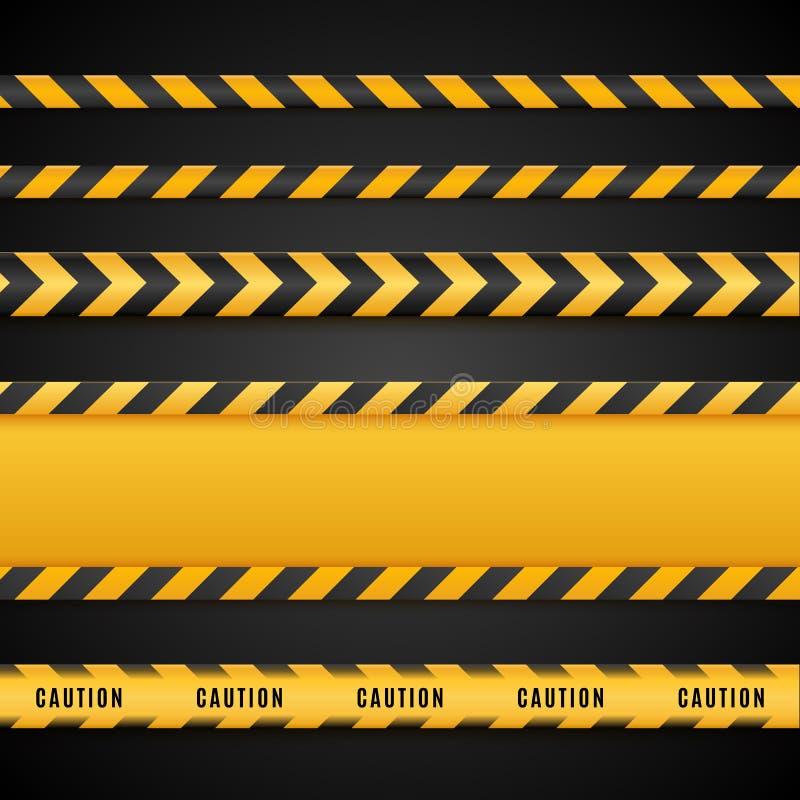 Gula och svarta faraband Isolerade varningslinjer också vektor för coreldrawillustration stock illustrationer