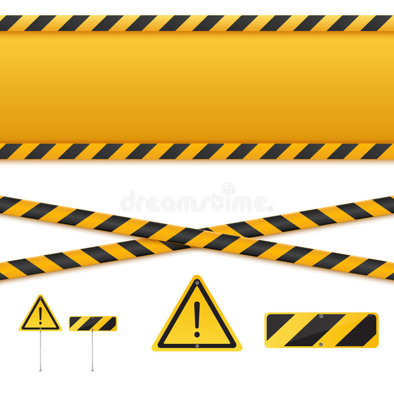 Gula och svarta faraband Isolerade varningslinjer också vektor för coreldrawillustration royaltyfri illustrationer