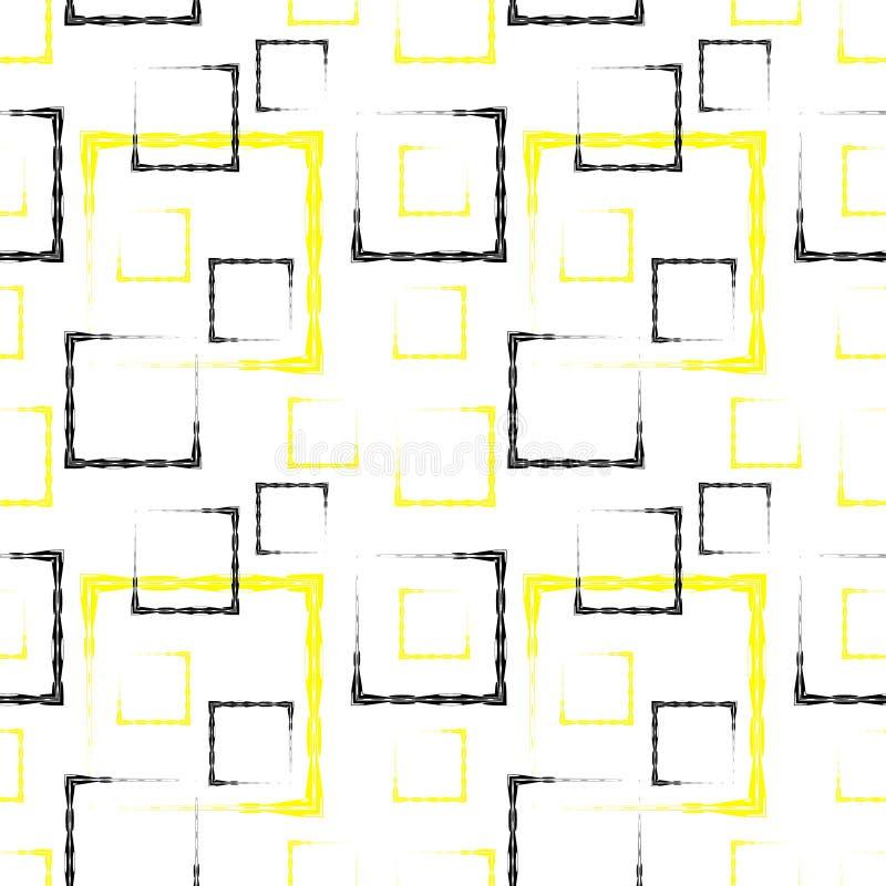 Gula och svarta sned fyrkanter och ramar för en abstrakt bakgrund eller modell vektor illustrationer
