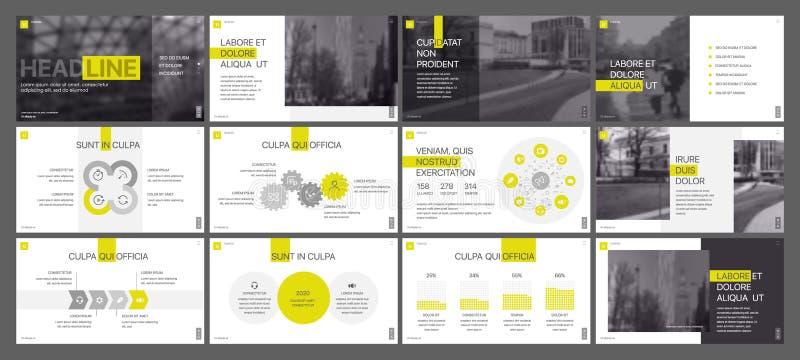 Gula presentationsmallbeståndsdelar på en vit bakgrund Abstrakt bakgrundskort och linjer royaltyfri illustrationer