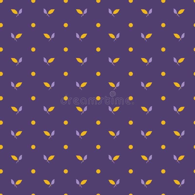 Gula purpurfärgade bladprickar S?ml?s bakgrund f?r vektormodell Illustration för utdragna blom- geometriska sidor för hand grafis royaltyfri illustrationer